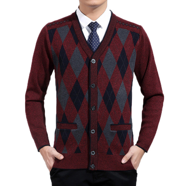 Man Woollen Cashmere Cardigan Sweaters Textured Knitted Sweater Men Argyle Pattern Cardigan Elegance Knitwear Elegant Sweaters