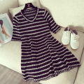 2017 Women dress Knitting Half Sleeve V-Neck Small Sweet Wind Black And White Color Dresses