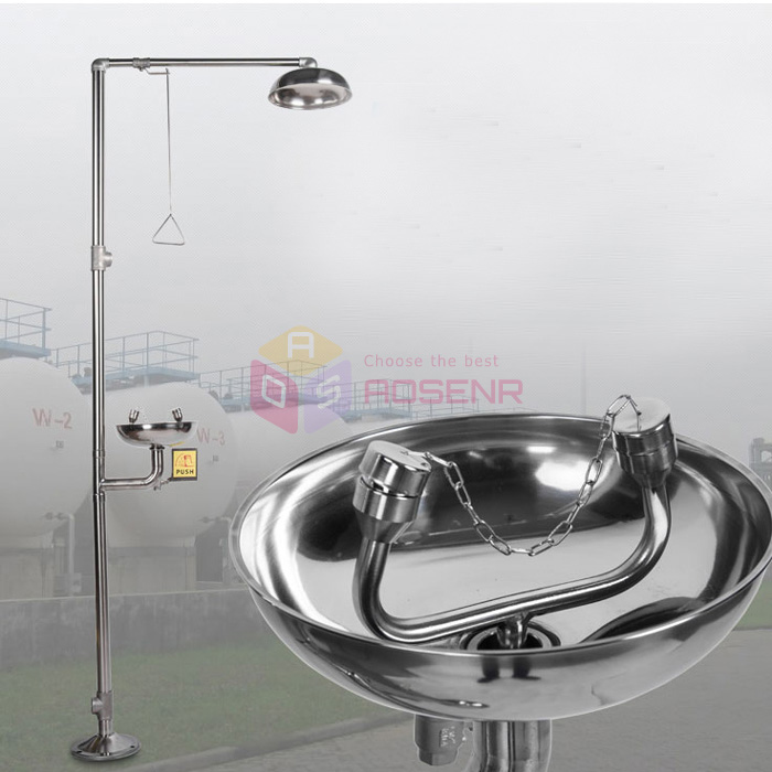 304 Stainless Steel Eyewash Equipment Eye Washer Emergency Spray Vertical Shower Eye Washing Machine Eye Wash