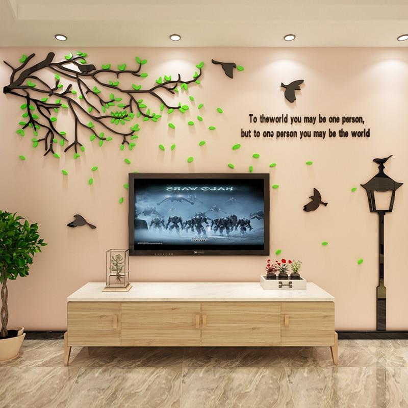 Trois tailles bricolage 3D arbre Stickers muraux créatif Art pâte acrylique Stickers pour TV canapé fond décor mural qualité 3D autocollants