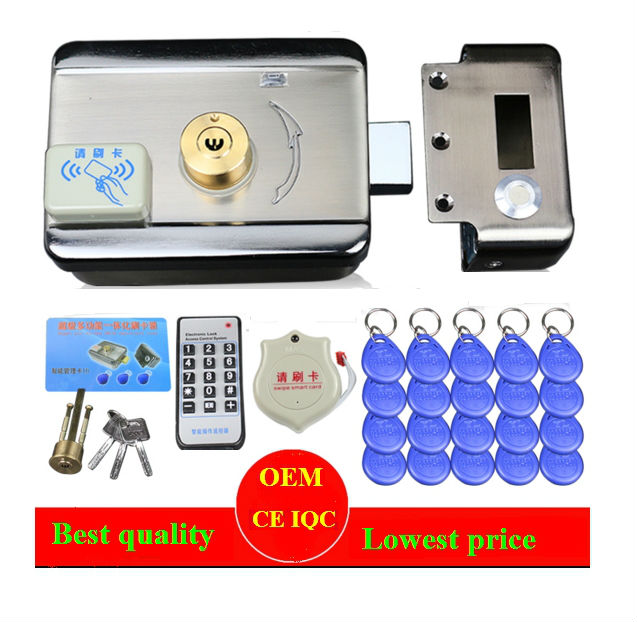 20pc tags DC12V Door&gate Access Control system Electronic integrated RFID Door Rim lock  Remote access control electronic lock the ivory white european super suction wall mounted gate unique smoke door