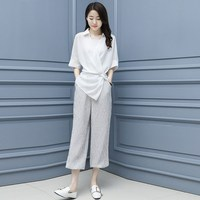 Women Two Piece Set Tops And Harem Pants Sets Casual Office Korean Ladies Suits