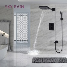 SKY RAIN Matte Black Shower Faucets Set Wall Mounted Rainfall, Waterfall Shower System/ Thermostatic Mixer golden rainfall shower faucets set brass wall mounted shower with hand shower mixer for bathroom