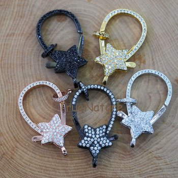 Large Lobster Clasps Jewelry Findings, Star Charm CZ Micro Zircon Connectors, For Bracelet Necklace In 42.1x20.6 mm FC6443