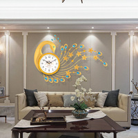3D Peacock Wall Clock Europe Big Wall Watch Home Hallway Clock Wall Modern Design Metal Digital Clocks Wall Decoration