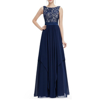 Fashion Women Dress Sleeveless Floor Length Elegant Evening Dress O Neck Empire Hollow Out Floral Chiffon