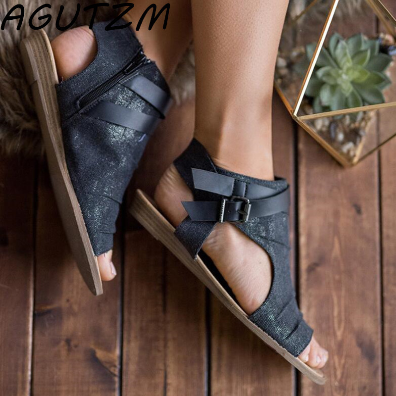 AGUTZM Women Sandals Gladiator Peep Toe Buckle Strap Zipper Design Women Flats Shoes Summer Beach Ladies Shoes Sandalias Mujer