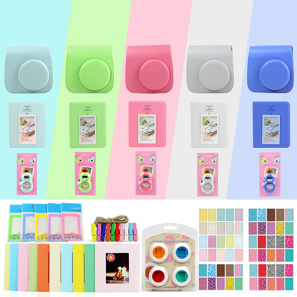 цена на 7 in 1 Accessories Kit Camera Bag for Fujifilm Instax Mini 8/9+/8s Camera Case Strap Sticker Selfie Lens Album Sticker