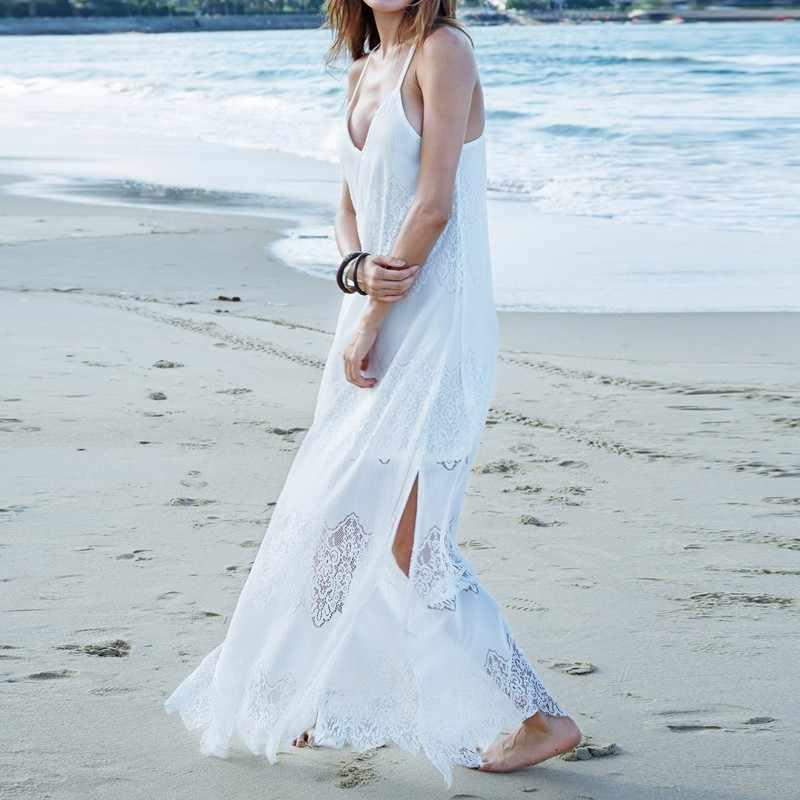 Summer Sundress Long Women White Beach Dress Strap Sleeveless Loose Sexy  Hanging Shoulder Lace Boho Cotton d1cc6ab23234