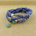 Fashion Yoga jewelry Natural sodalite 108 Mala Beads with lotus Necklace Strands Elastic