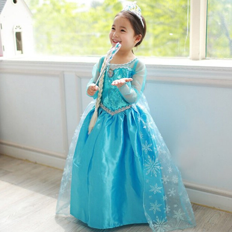 New Arrival Girl Dresses Princess Children Clothing Anna Elsa Cosplay Costume Kid's Party Dress Baby Girls Clothes Free Shipping orient sz3x003b