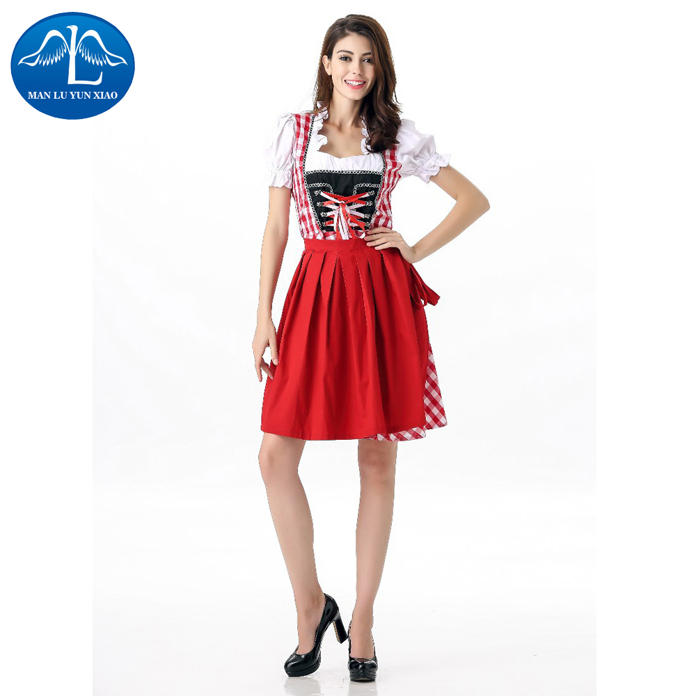 MANLUYUNXIAO Sexy Red Lace Beer Girls Dress German Oktoberfest Carnival Cosplay Costume Exotic France Maid Servant Costume