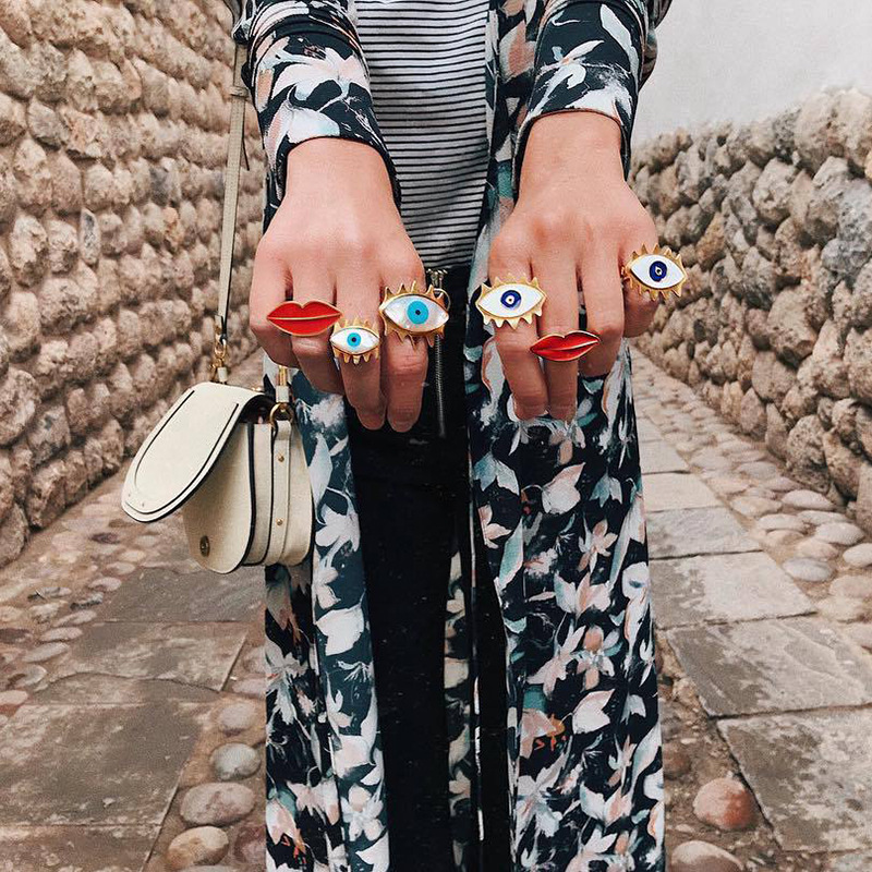 Лучший!  Новая Мода Преувеличенные Губы Губы Сердце Открытые Кольца Для Женщин Золотой цвет boho Стиль