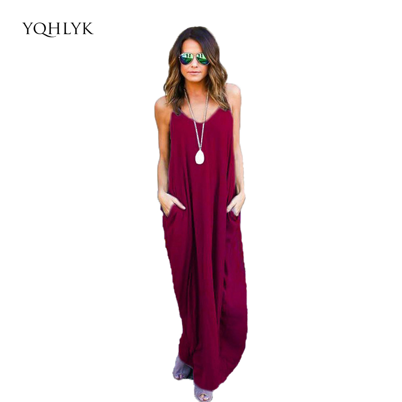 2xl Mujeres Beach Dress 2018 Summer Pure Color Calle Hipster Sling - Ropa de mujer