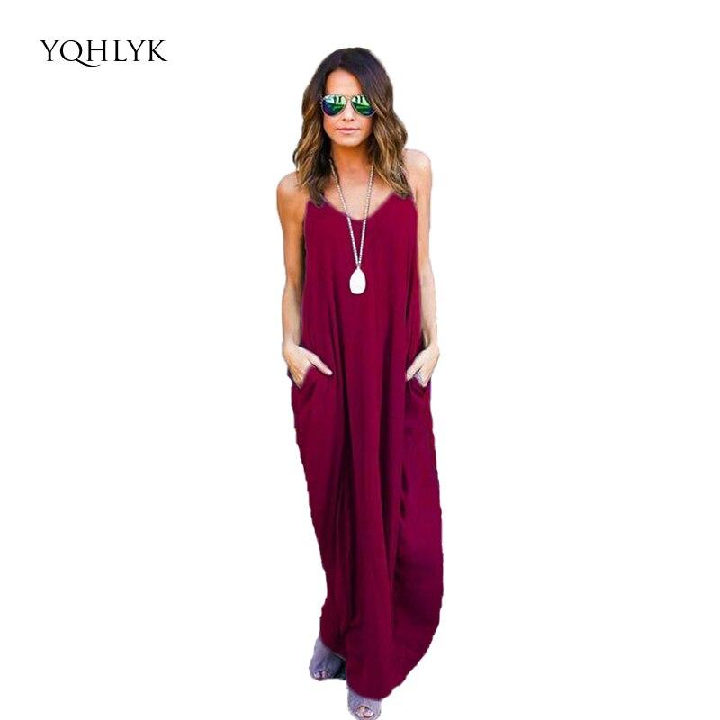 967a941e2 2xl ženy plážové šaty 2018 letní čisté barevné Street Hipster závěs V-krk  kapsa Plus velikost dlouhé bavlněné šaty žena L031
