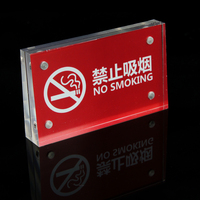 Acrylic Trapezoidal Block Photo Frame Price Tag Sign Label Paper List Clip Magnetic Name Card Display