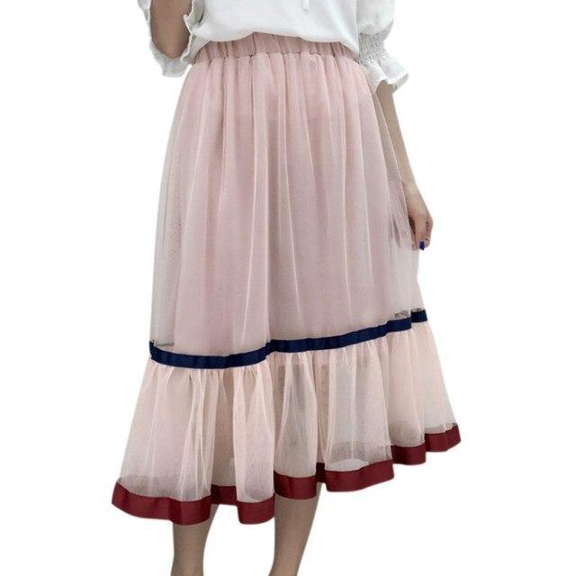 cceab8aeeec4dd € 8.57  Tulle Jupes Femmes D'été De Mode Taille Haute Jupe Longue Élastique  Taille Soleil Moelleux Tutu Jupe Jupe Longue Femme dans ...