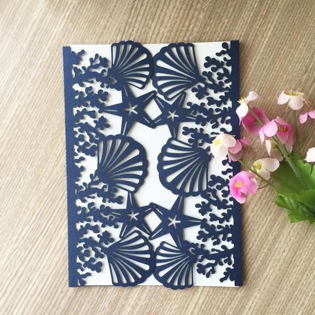 50pcs Laser Cut Pearl Paper Card Postcards Beach Theme Wedding Birthday Invitation With Shell Starfish