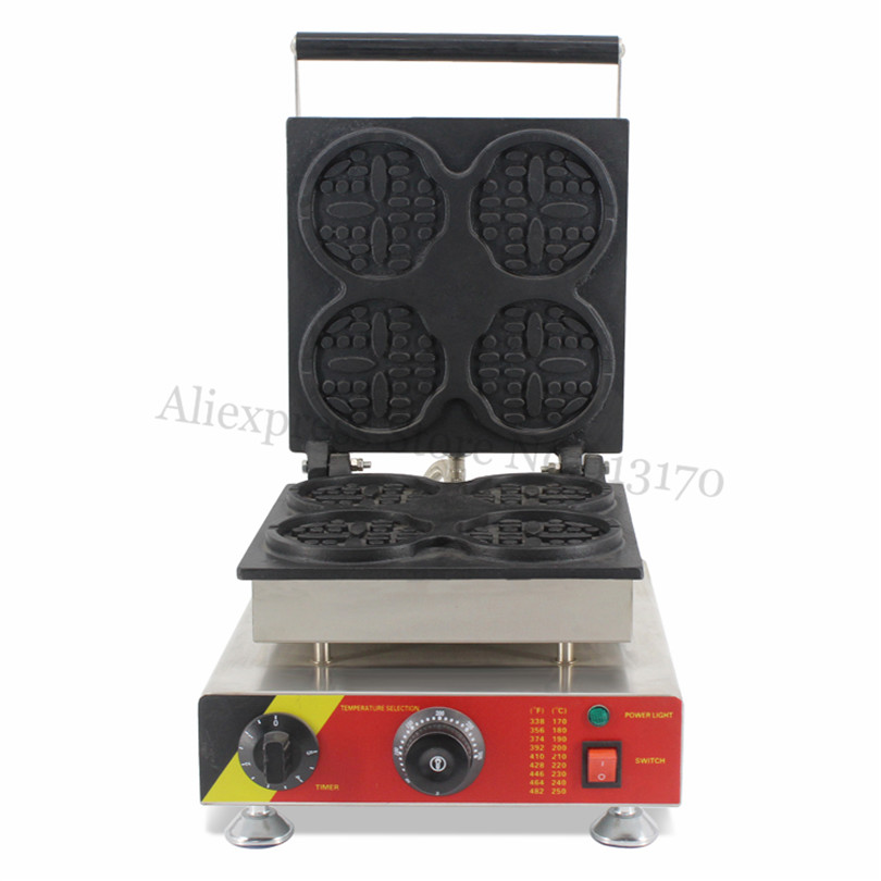 Stainless Steel 4 Round Figured Lolly Waffle Machine Commercial Waffle Baker Maker 220V 110V Snack Store Street Equipment rotary round waffle baker waffle machine mfx 01 with mechanical control panel