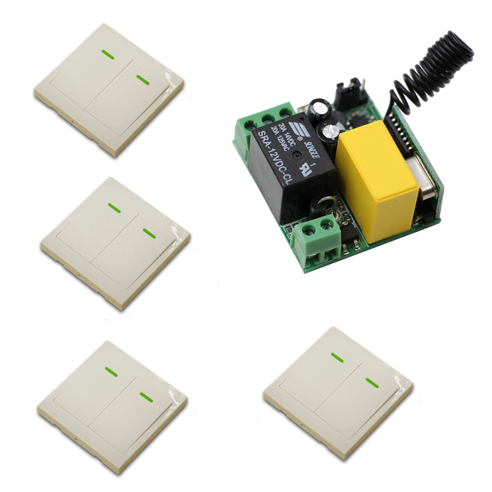 AC 220V Wireless Remote Control Switch Lamp Light LED Bulb Switch 1CH Mini Size 10A Relay Receiver Wall Transmitter 315/433Mhz ac 220v 10a 1ch relay wireless remote control switch system long range transmitter mini size receiver 315mhz 433mhz