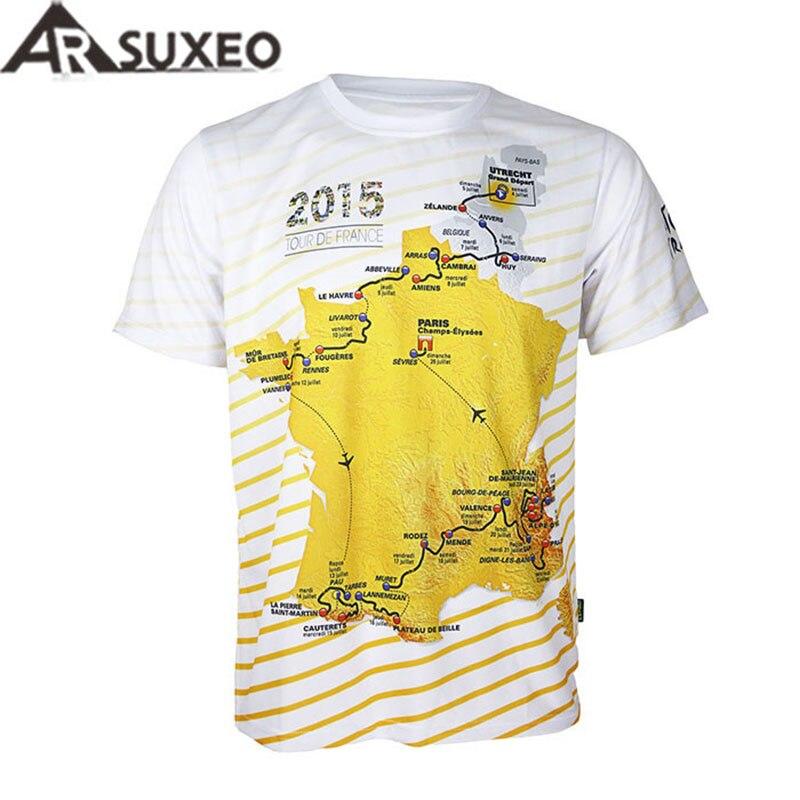 Prix pour Arsuxeo Tour de France hommes manches courtes vélo Maillot vélo vélo Maillot à séchage rapide respirant maillots chemises VTT Jersey