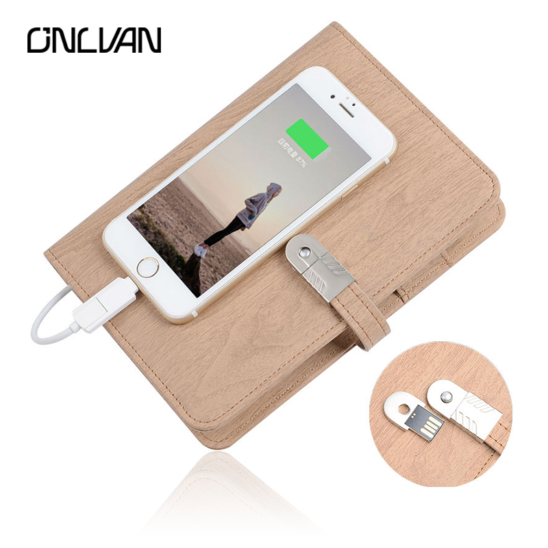 ONLVAN 3 In 1 Composition book with 4000 mAh power bank Business Notebook Office Supply Company Gift Papelaria Agenda 2018 navy color manager notebook with 6000 mah power bank office supply document bags business travel accessories accept oem order
