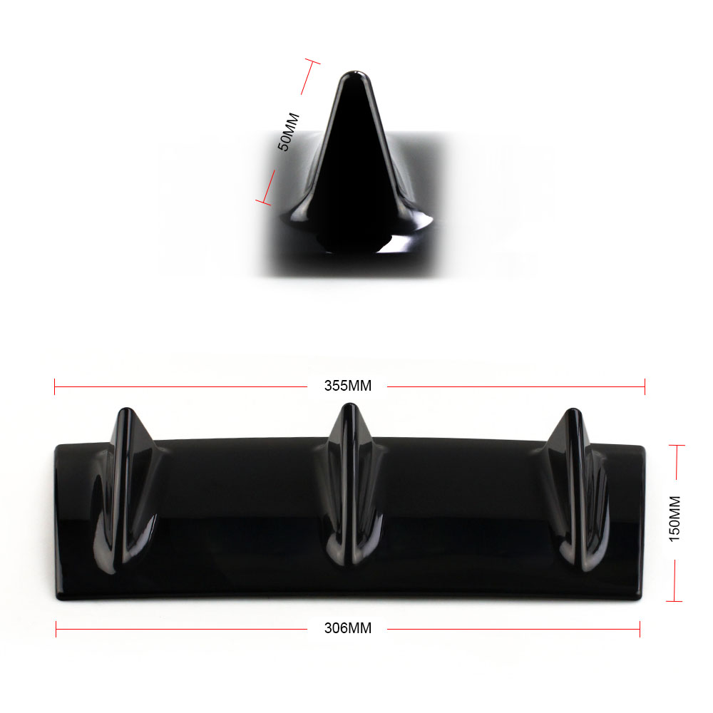 RASTP Universal Auto Rear Bumper Chassis Shark Fin Chassis Diversion Plate Fittings 3 Wing Size S RS LKT025 S in Car Stickers from Automobiles Motorcycles