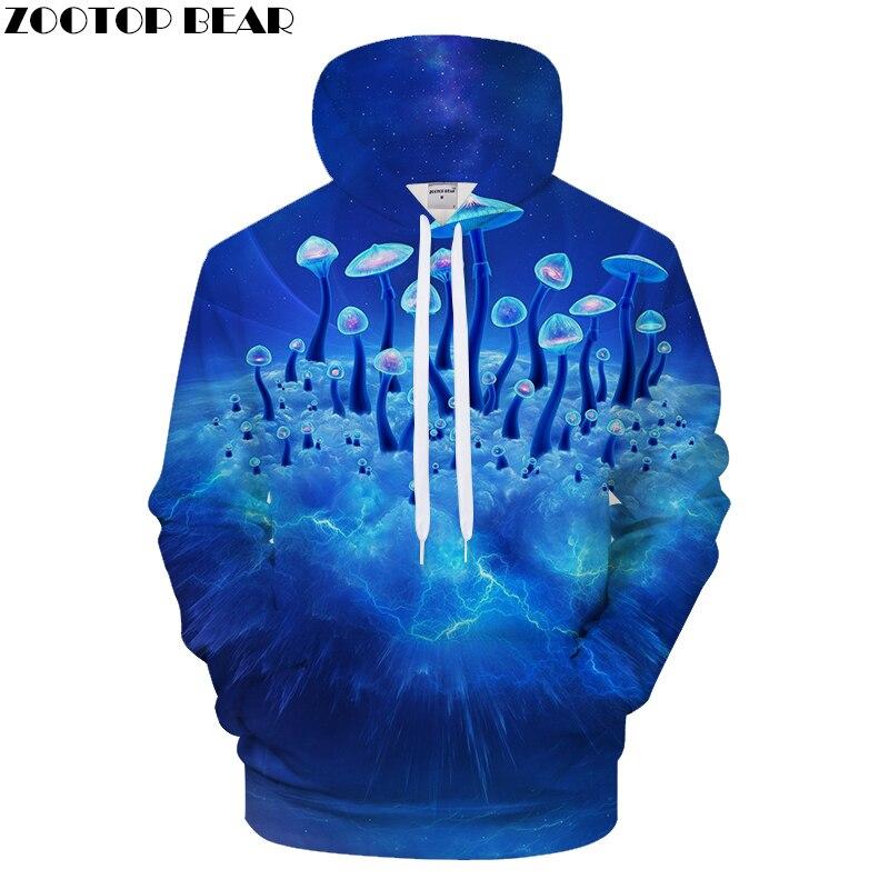 Mushroom 3D Hoodies Men Hoody Printed Casual Tracksuit Groot Sweatshirt Blue Coat Pullover Male Streatwear Asian size s-6xl