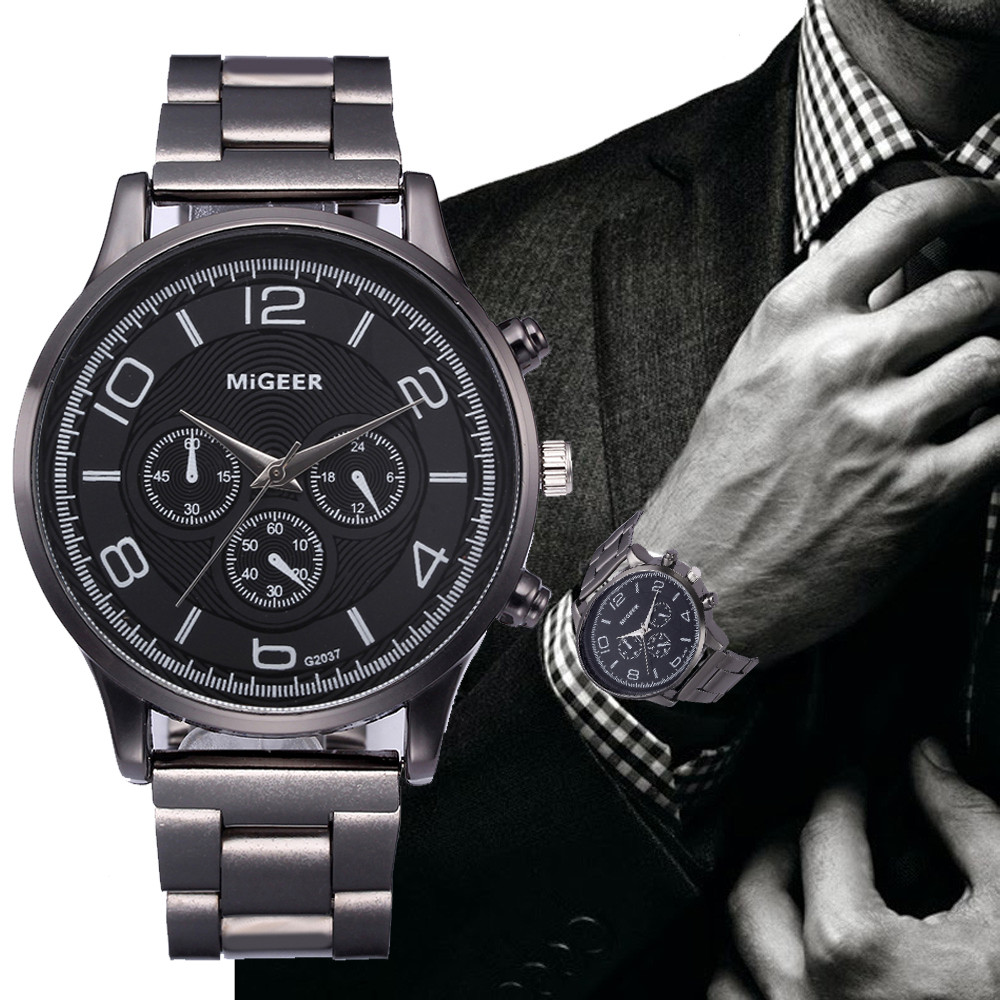 Man Wrist Watches Crystal Stainless Steel Analog Quartz mens wristwatches man watch 2019 watch male