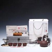 220ML Yixing Raw Ore Purple Clay Teapot Handmade Zisha Art Xishi Tea Pot Teacup Fair Cup Filter Kit Gift Box for Birthday Gifts