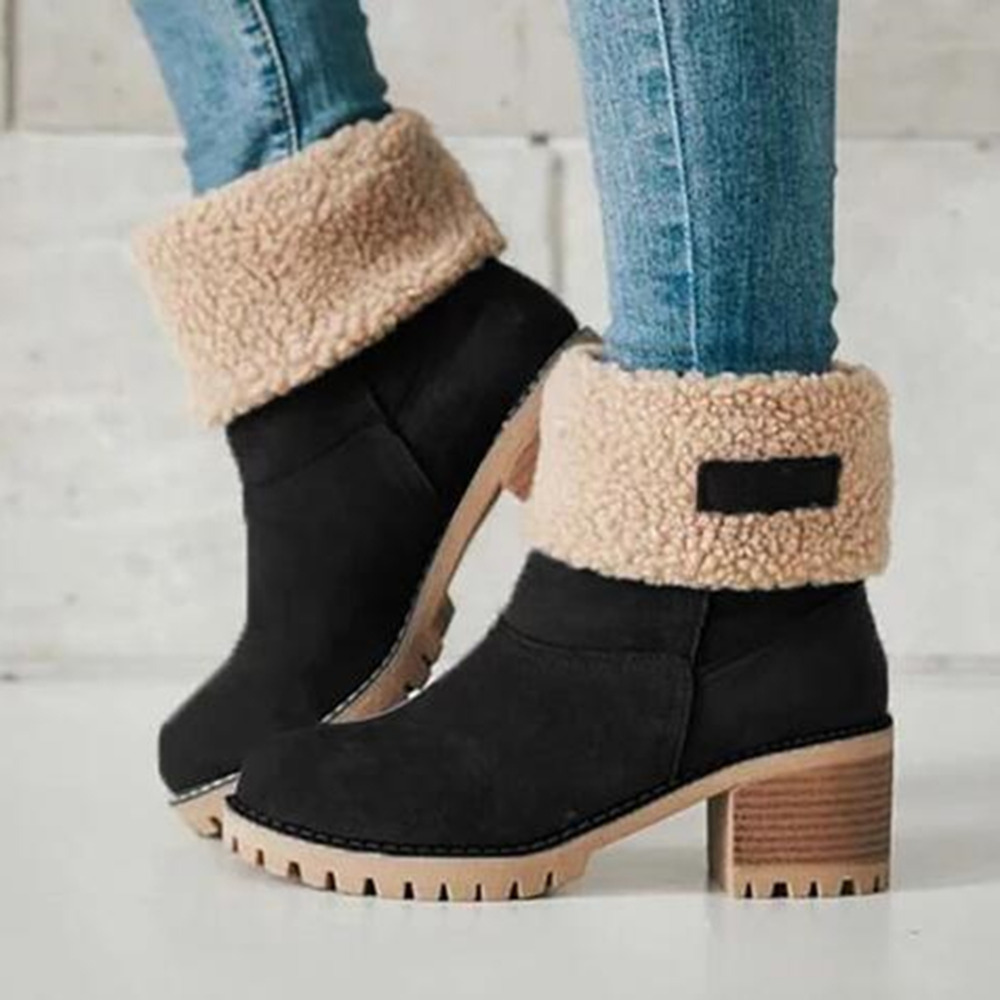 Big size 35-43 Women Boots Female Winter Shoes Woman Fur Warm Snow Boots Square High Heel Ankle Boots Black Green botas mujer все цены