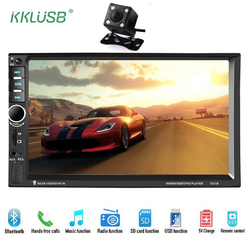 Автомагнитолы 2 DIN 7 ''дюймовый ЖК-дисплей сенсорный экран тюнер Bluetooth Поддержка нескольких языков меню камеры Авто Аудио плеер авторадио 7021B