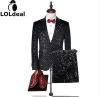 Blazer Pants Groom Wedding Suit Mens Print Paisley Floral Stage Wear For Singer Fashion Slim