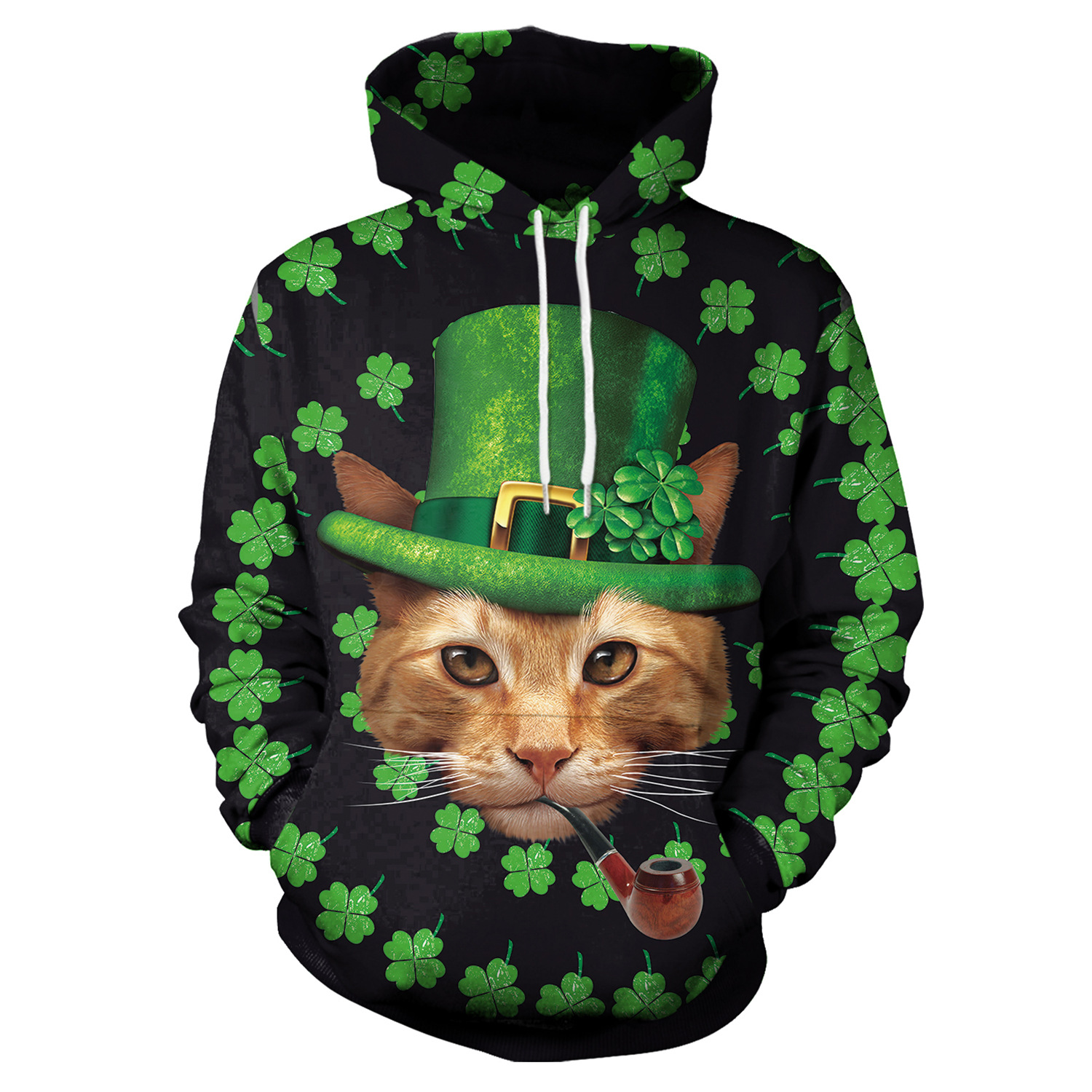 St Patrick's Day Green Hat Cat Shamrocks Print Hoodies Men Hoodie with Hat Round Neck Loose Sweatshirt Pullover Streetwear