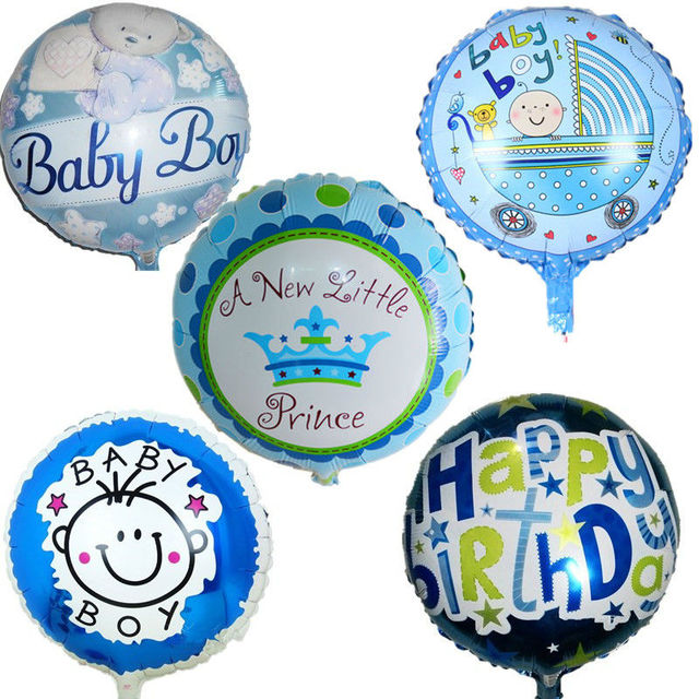 5 Pcs Lot 18 Baby Boy Helium Foil Balloons Happy Birthday Decorations Kids 1 Year Shower Balloon