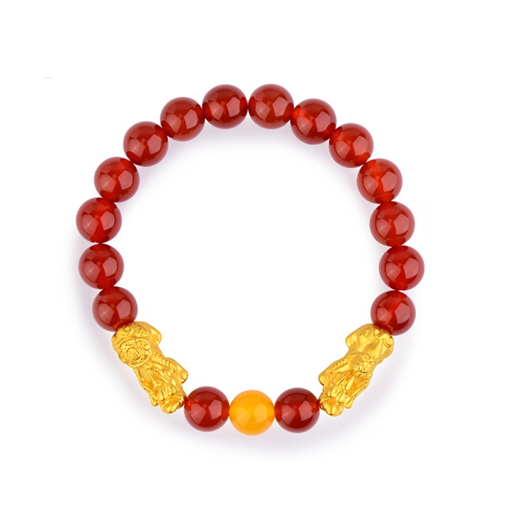 HOT SALE Pure 24K Yellow Gold Lucky Red Agate 3D Pixiu Bead Womens BraceletHOT SALE Pure 24K Yellow Gold Lucky Red Agate 3D Pixiu Bead Womens Bracelet