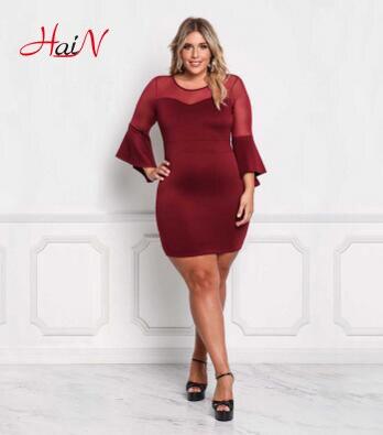 Women Autumn Fashion Big Sexy Hollow Out Hole Lace Vintage Cotton Sheath Flare Full Sleeve Plus