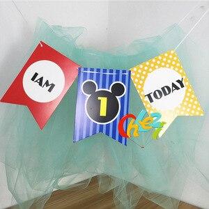 Image 5 - 1セットベビー1年の誕生日色旗チュチュネット糸ベビーチェア誕生日パーティーの装飾私は1今日バナーベビーシャワー