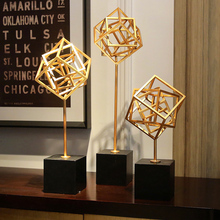 Modern simplicity Creative Metal geometric statue home decor crafts room decoration objects parlor study office figurines