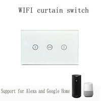 Wi Fi Curtain Switch US Version Glass Panel Smart Mobile Control Via Tuya App Work With