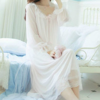 CHYH 2018 New Spring Summer Nightgown Female Long Sleeve Nightdress Mid Calf Vintage Lace Nightgowns Princess Sleepwear