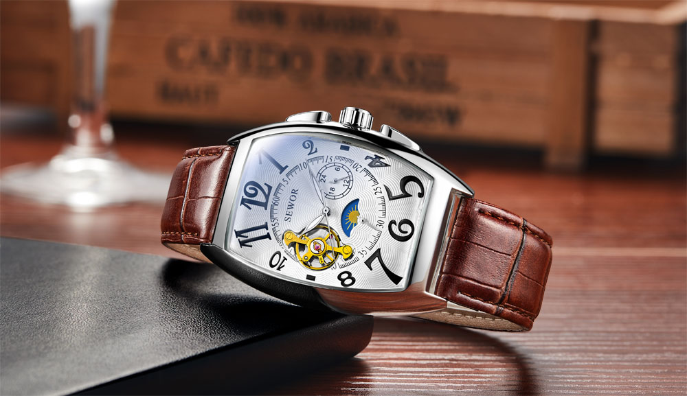 HTB1VGdGXtfvK1RjSspfq6zzXFXai SEWOR New Black Gold Tonneau Tourbillon Automatic Mechanical Watch Men Genuine Leather Strap Men Clock Male Men Wristwatches