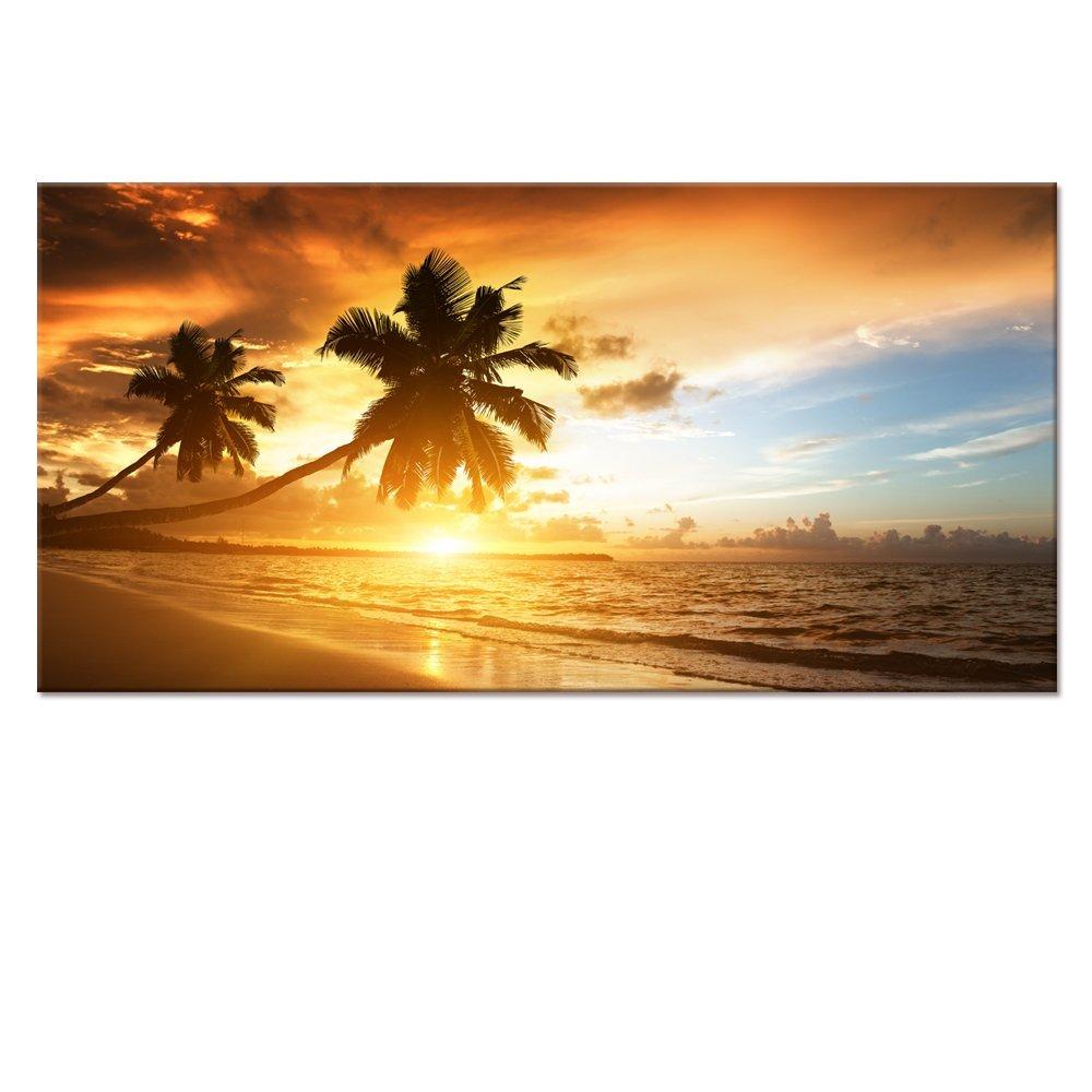Gold Seascape Canvas Wall Art,Beach Canvas Prints non Frame,Large ...