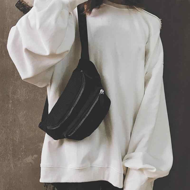 ヴィンテージコーデュロイウエストパック女性ポーチベルト胸メッセンジャーショルダーバッグについてファニーパック女性