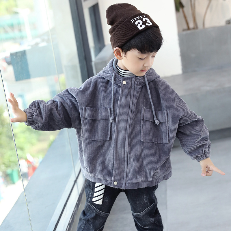 Boys Long Sleeve Hooded Casual Fashion Coats Corduroy Solid Color Warm Cottoned Winter Outdoor Windbreaker JacketsBoys Long Sleeve Hooded Casual Fashion Coats Corduroy Solid Color Warm Cottoned Winter Outdoor Windbreaker Jackets