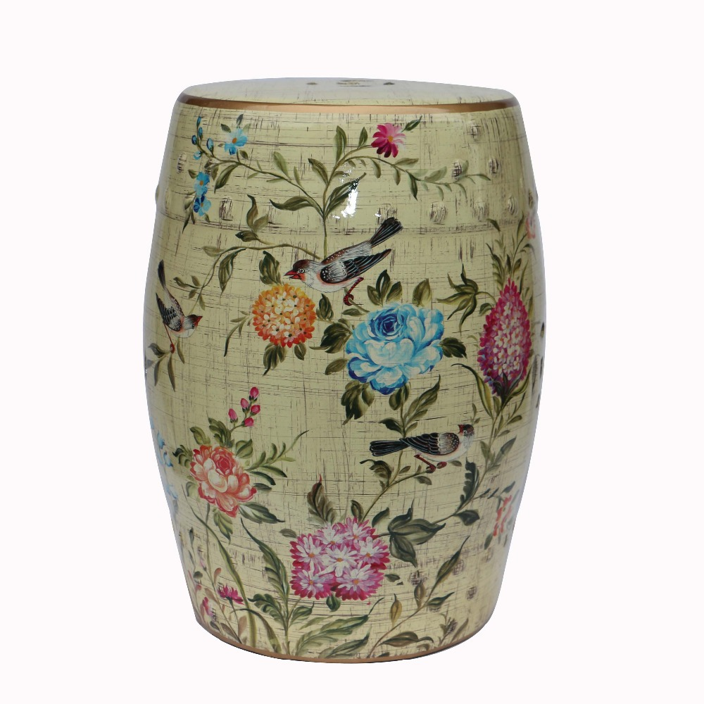 все цены на Beautiful Chinese Ceramic Indoor Flower and Bird Design Stool Seat for Home Decoration онлайн