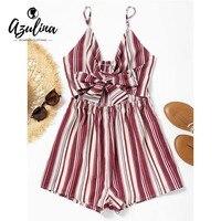 AZULINA Bowknot Striped Cut Out Romper Women Rompers 2018 Fashion Girls Casual Summer Beach Playsuits Spaghetti