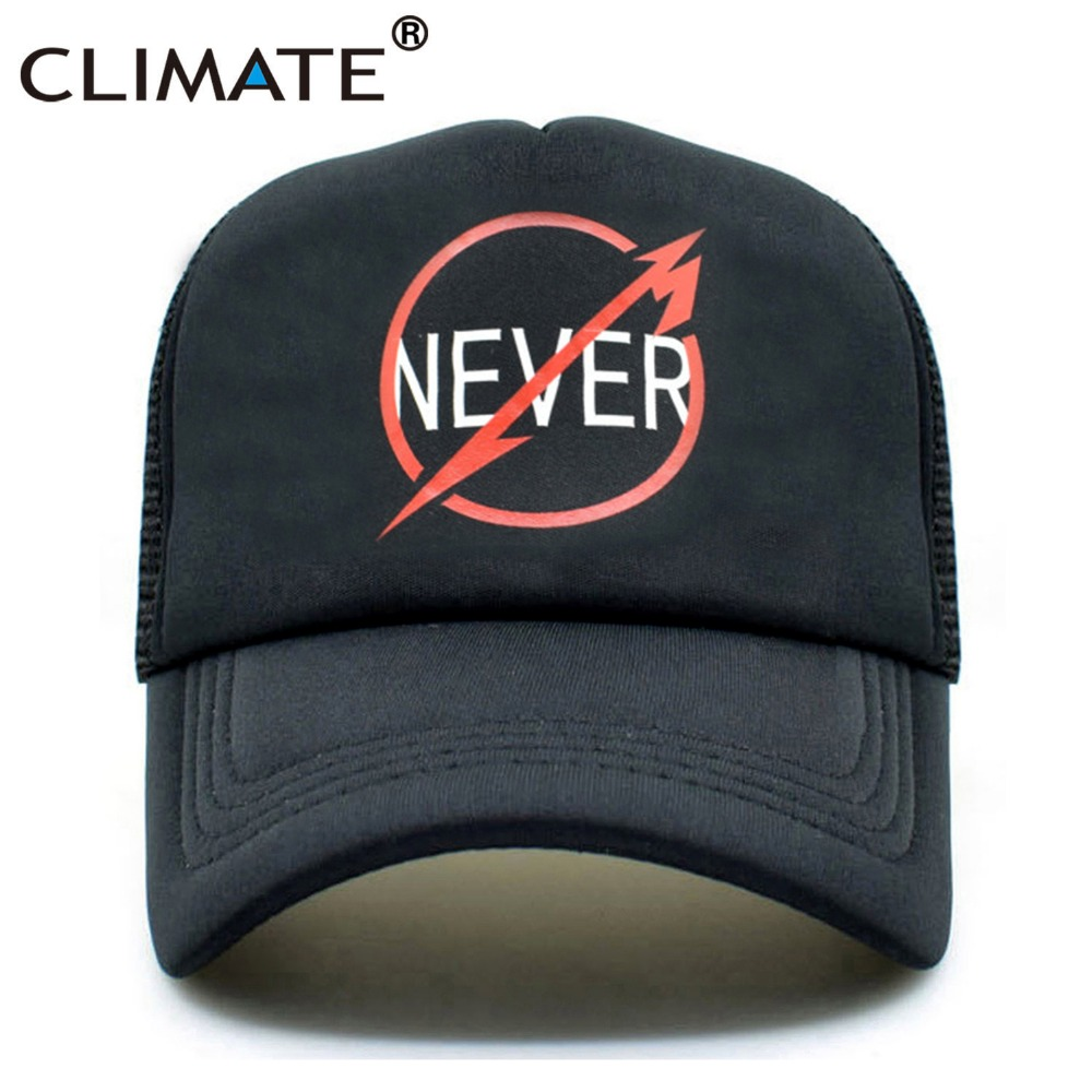 CLIMATE Men Metallica Cool Truker Caps Metal Rock Music Cap Fans Never Cap Cool Summer Baseball Net Trucker Caps Hat For Men metallica metallica and justice for all