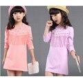 2016 New Girls Spring Dress Summer Autumn Girls Casual Dress tassels Children Clothes Girls Long Sleeve Girl Cotton Dress