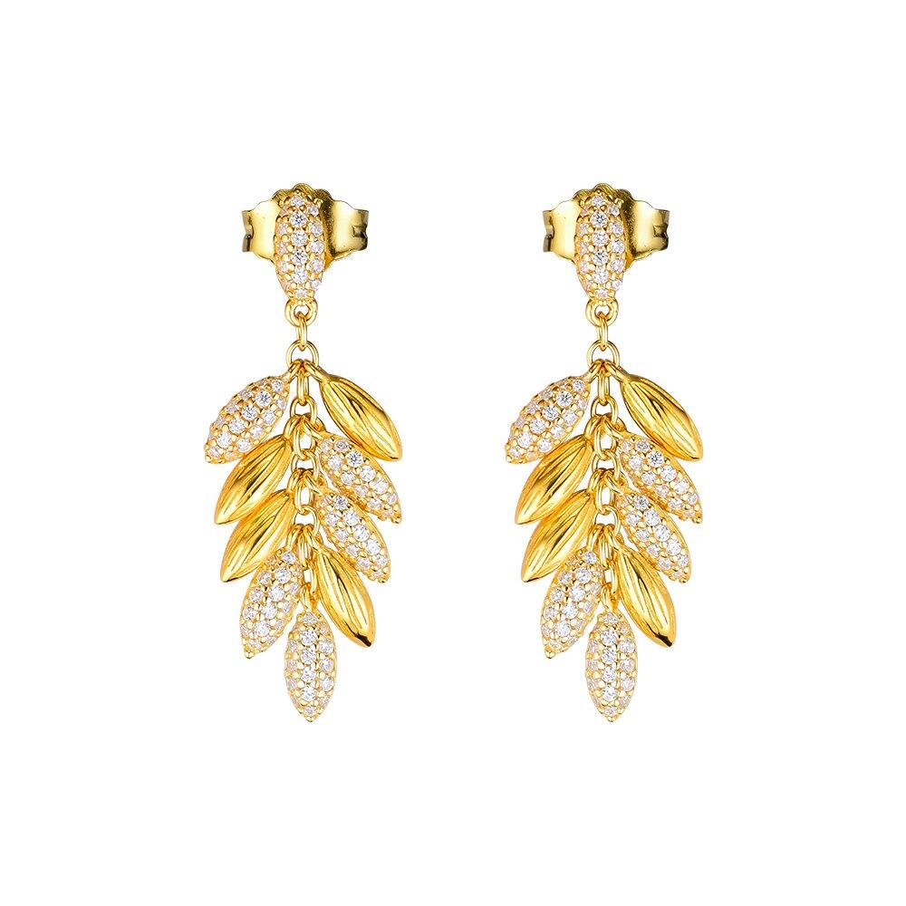 Pandulaso Shine Floating Grains Earrings Sterling silver Jewelry Earrings For Woman Make Up Valentine's day Fashion Earrings